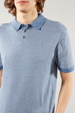 THE GOODPEOPLE MID BLUE WHITE STRIPE POLO SHIRT