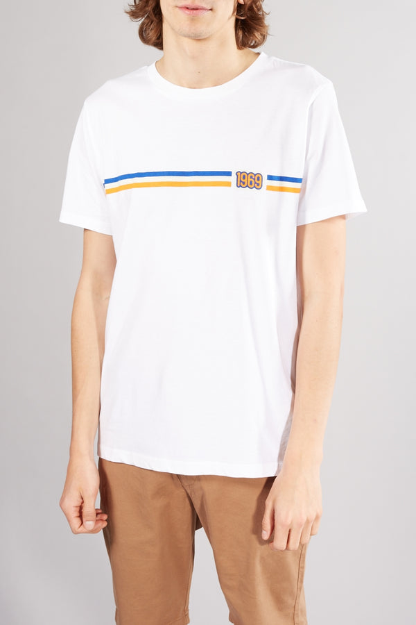 KNOWLEDGE COTTON APPAREL ALDER 1969 WHITE STRIPE HERITAGE TEE