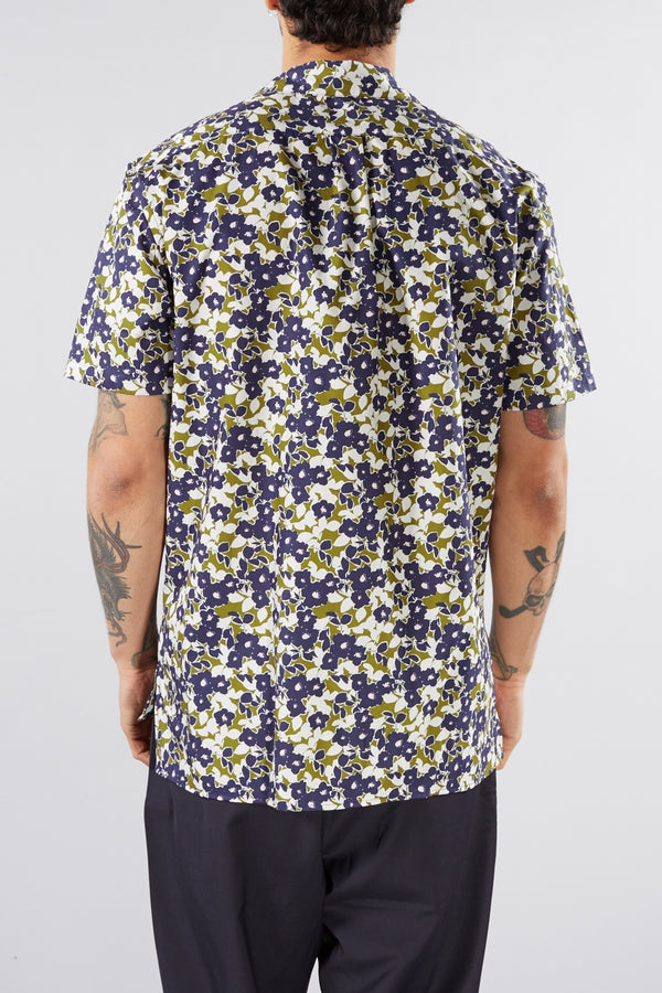 LIBERTINE LIBERTINE WHITE BLUE FLOWER PRINT CAVE DRESS SHIRT