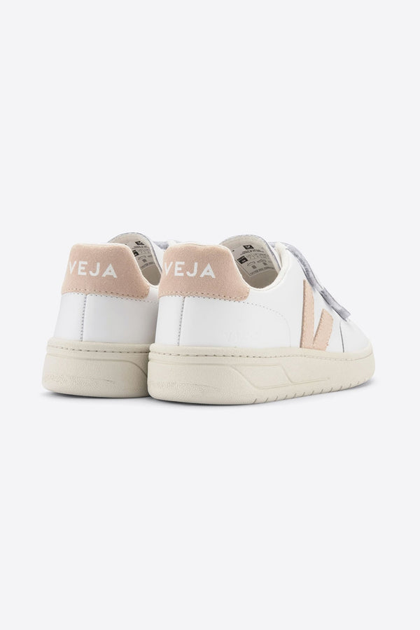 VEJA V-LOCK WHITE NUDE LEATHER TRAINERS