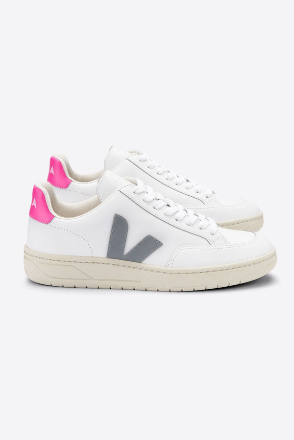 VEJA V-12 WHITE OXFORD GREY PINK LEATHER TRAINER WOMENS