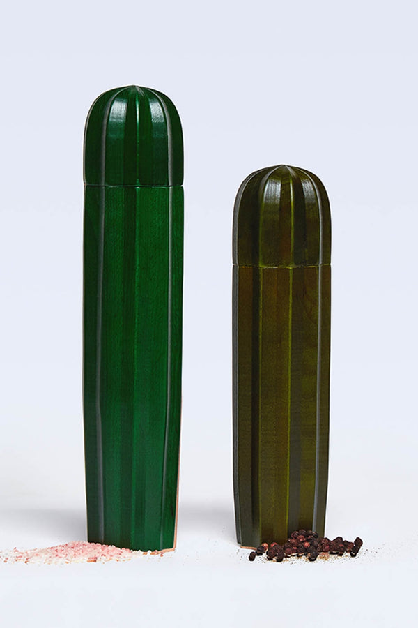 DOIY Cacti Green Wood Salt and Pepper Mills (Set of 2)