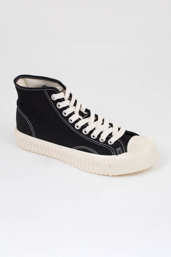 Excelsior Carbon Black Bolt Hi Canvas Trainers
