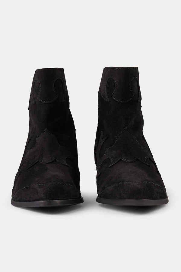 SHOE THE BEAR BLACK SUEDE MIQUITA FLAME ANKLE BOOT