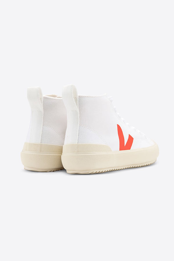VEJA NOVA WHITE FLUO ORANGE BUTTERSCOTCH HIGH TOP VEGAN TRAINERS WOMENS