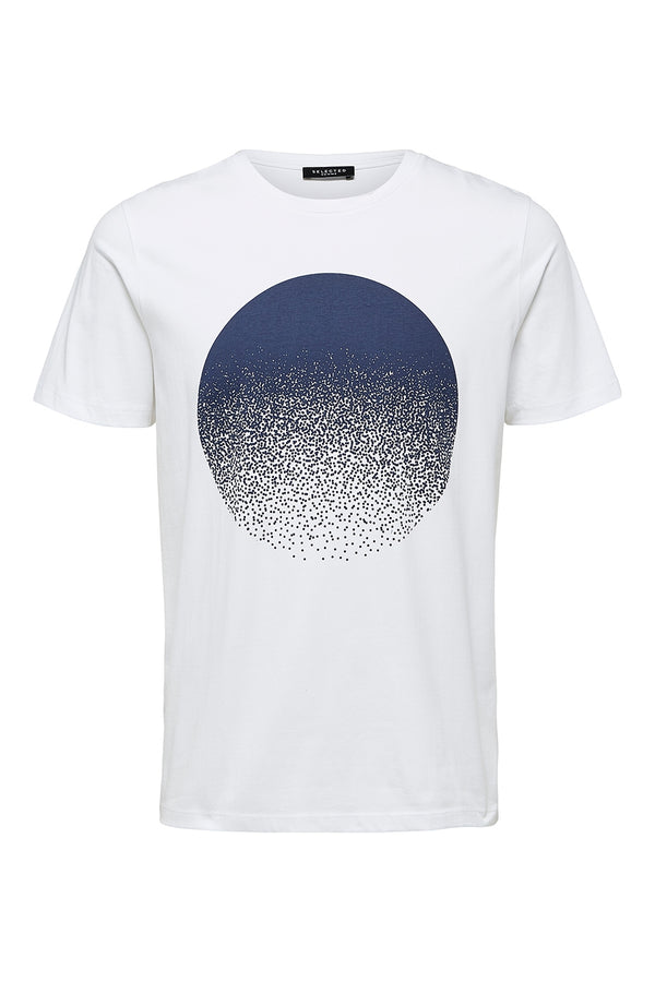 SELECTED HOMME WHITE GRAPHIC PRINT PHILLIP O-NECK SHORT SLEEVED TEE