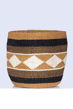 Natural Black Geometric Kadi Basket