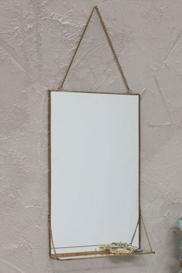 Nkuku Antique Brass Portrait Kiko Mirror With Shelf (40.5 x 25 x 8cm)