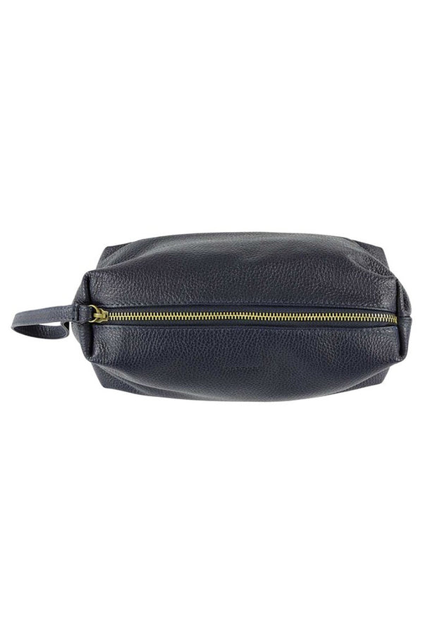 ESCUYER NAVY LARGE LEATHER TRAVEL CASE