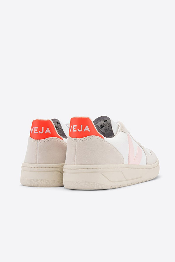 VEJA V-10 WHITE FLUO ORANGE PETAL B-MESH TRAINER WOMENS