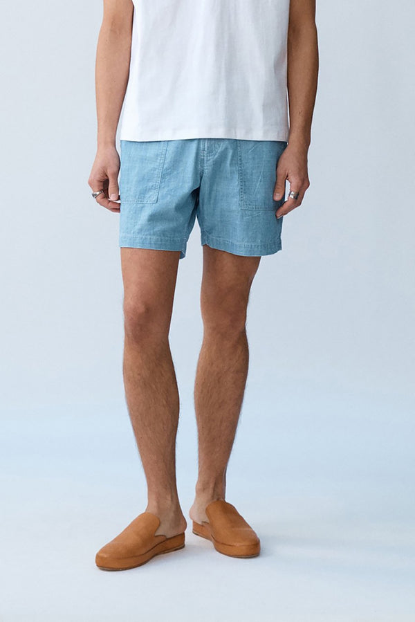 Washed Chambray Patch Pocket Shorts