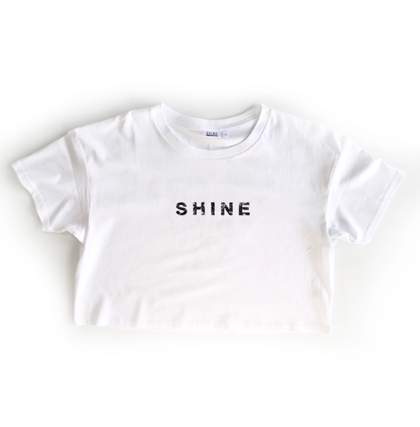 S H I N E Womens Crop Tee White