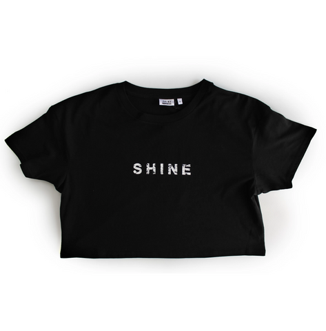 S H I N E Womens Crop Tee Black