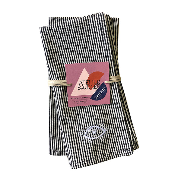 Abierto Eye Hickory Stripe Napkin Set of 2