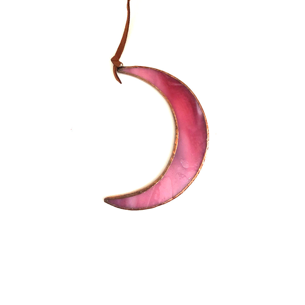 Stained Glass Smokey Pink Crescent Moon