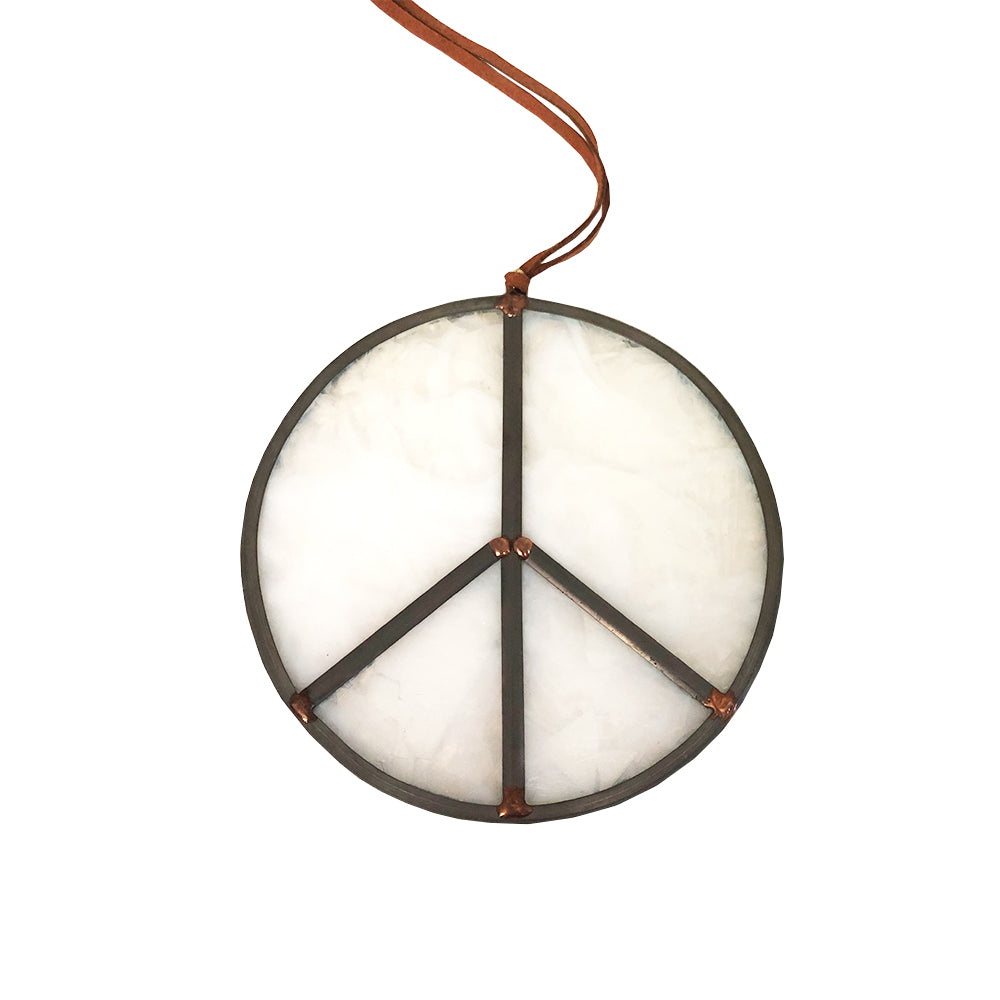 Stained Glass Milky White Peace Sign
