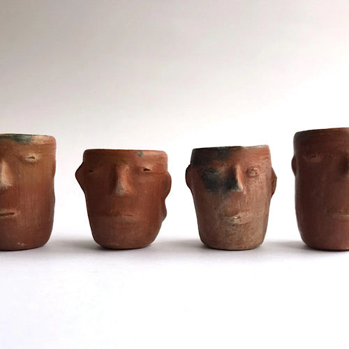 Red Clay Faces Mezcal Shot Glasses Set of 4