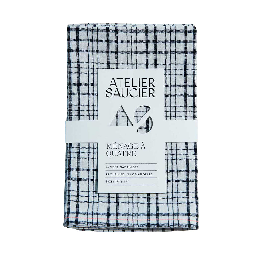 Neon Black + White Plaid Napkins Set of 4