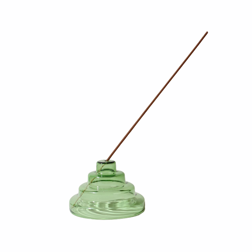 Glass Meso Incense Holder - Green