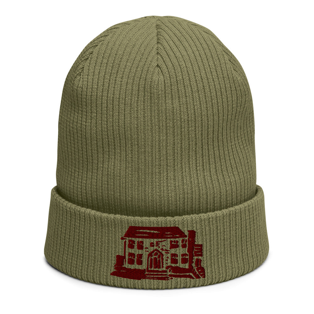 Organic ribbed embroidered beanie