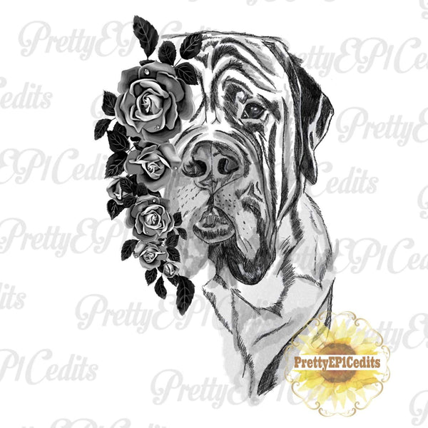 Mastiff Sketch, Dog with flowers, digital download,clip art, PNG