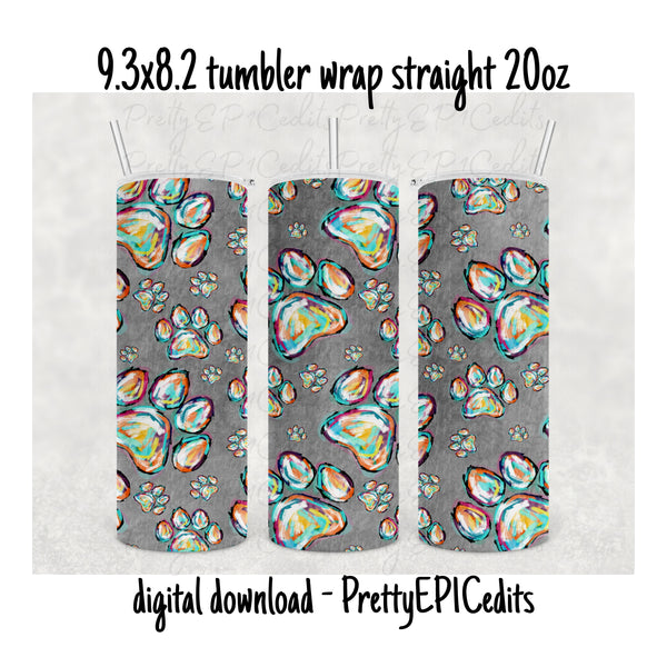 Tumbler Wrap, 9.3 x 8.2 straight skinny, paw prints,  digital download