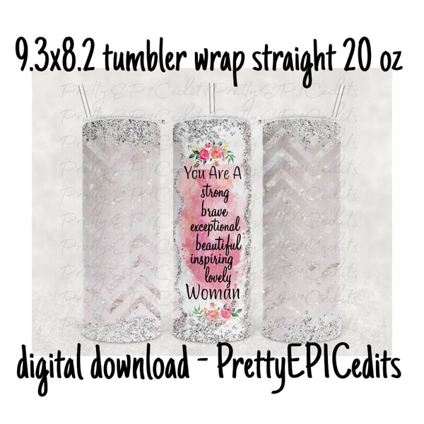 Tumbler Wrap, 9.3 x 8.2 straight skinny, Strong Woman,  digital download