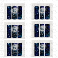 12 File Bundle, Lunar Zodiac designs, Tumbler Wrap, 9.3 x 8.2 straight skinny,  digital download