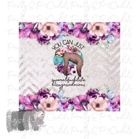 Sloth Tumbler Wrap, 9.3 x 8.2 straight skinny, digital download