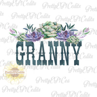 granny, watercolor succulents, printable digital image, PNG,