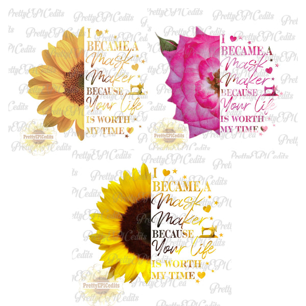 Face mask flower quote 3 PNG File Bundle Special (Limited Time)