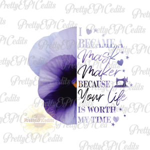 face mask quotes, purple flower, half flower ,PNG, instant download.