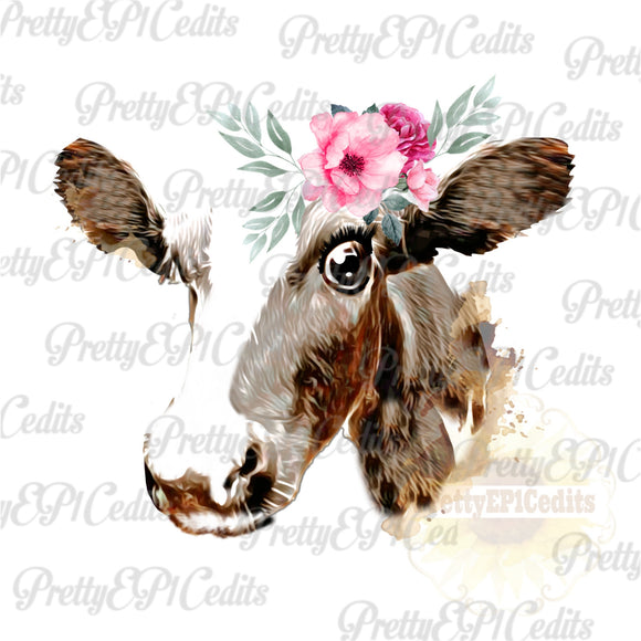 watercolor cow, baby cow, cow with flowers, digital download,clip art, PNG