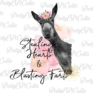 donkey, stealing hearts and blasting farts, watercolor donkey, digital download,clip art, PNG