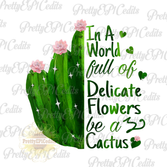 cactus  word of flowers, digital download,clip art, PNG