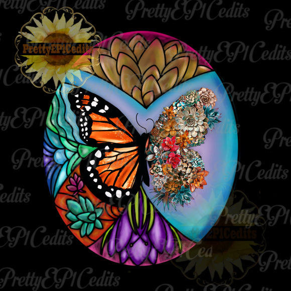 butterfly, stained glass butterfly, succulent butterfly, digital download,clip art, PNG