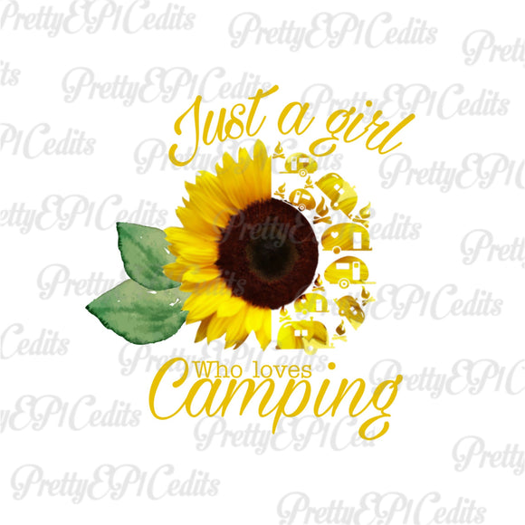 happy camper, sunflower, just a girl who loves camping,  digital download,clip art, PNG