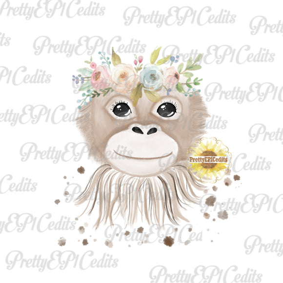 watercolor monkey,  digital download,clip art, PNG