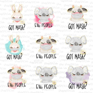17 file bundle, face mask aninals, digital download,clip art, PNG
