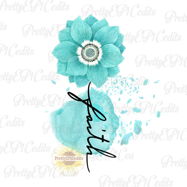 Faith Cross ,digital download, blue/green, flower faith