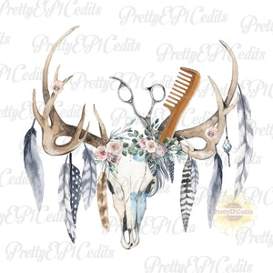 Beautician, hair stylist, boho skull, feathers and antlers, digital download,clip art, PNG