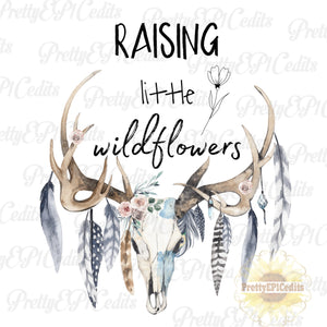 raising little wildflowers, boho skull, feathers and antlers, digital download,clip art, PNG
