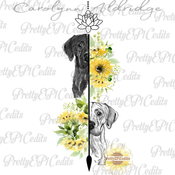 Labs, Arrow, sketched dog with flowers, digital download,PNG