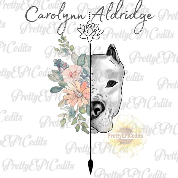 pit bull, Arrow, sketched dog with flowers, digital download,PNG