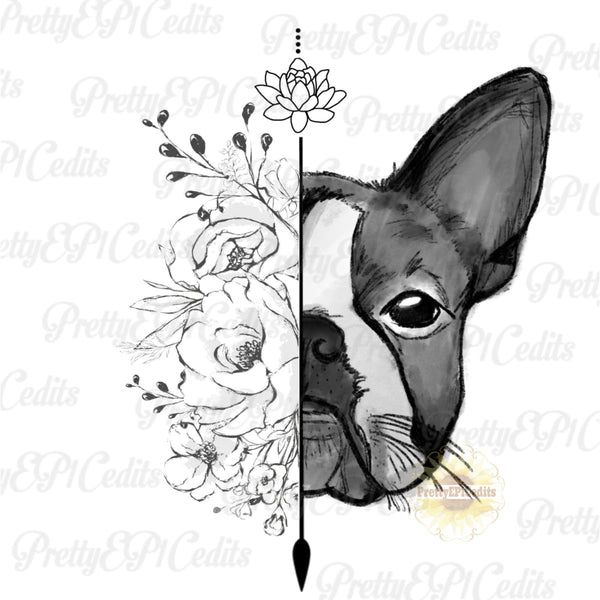 boston terrier, dog with flowers, digital download,clip art, PNG