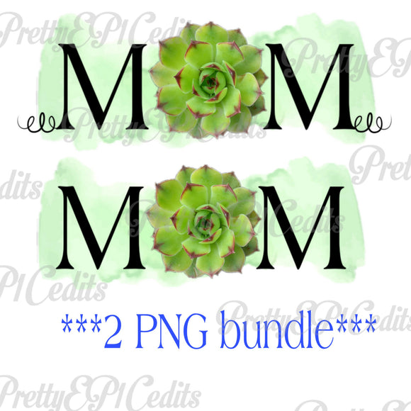 2 PNG Mom, green succulent, watercolor , mother's day, Digital download