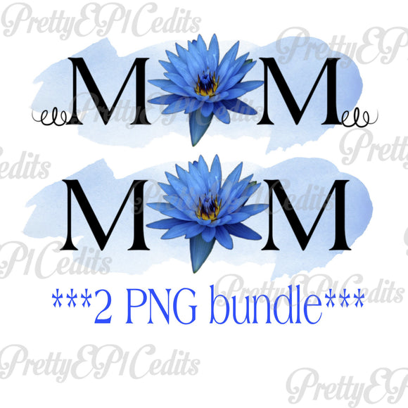 2 PNG Mom, blue, indigo flower, watercolor, mother's day, Digital download
