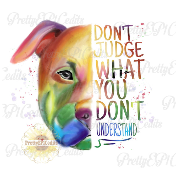 Rainbow pitbull, painted pitbull PNG, half face pitbull, watercolor pitbull, watercolor dog, digital download,clip art, PNG, JPG