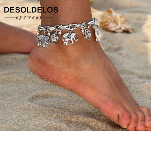 Anklets for Women - Gold Silver Elephant Pendant