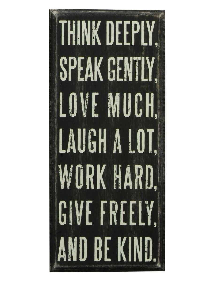 "Rustic Wall Decor Box Sign ""Think Deeply"""